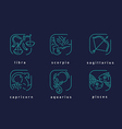linear style icons of the zodiac signs vector image