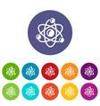 molecule genetics icons set color vector image vector image