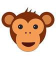 monkey head in cartoon flat style vector image