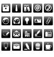 Office icons on black squares vector image vector image