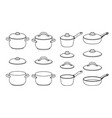 pans sketch icons vector image