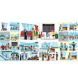 people in airport flat color icons set pilot vector image