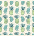 pineapples and tropical leaves seamless pattern vector image vector image