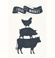 poster for local market cow pig hen stand on vector image