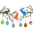 rabbits on easter eggs tree vector image vector image