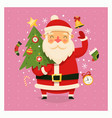 santa with christmas tree vector image vector image