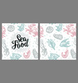 sea food lettering and seamless pattern shell vector image vector image
