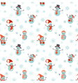 Seamless pattern of snowmen on white background vector image vector image