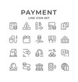 set line icons payment vector image vector image