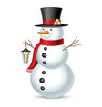 snowman with hat and lantern isolated on white vector image vector image