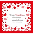 square background with red hearts vector image vector image