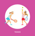 tennis play two girls playing english sport game vector image vector image