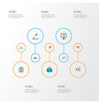 trade icons flat style set with bank card team vector image
