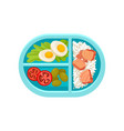 tray with tasty and healthy meal boiled eggs on vector image