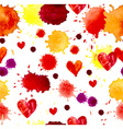 Watercolor colorful blot and heart seamless vector image vector image