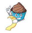 with menu chocolate cupcake mascot cartoon vector image vector image