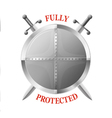 Metal shield with two crossed swords isolated vector image
