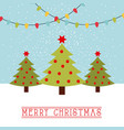 merry christmas card trees with star and balls vector image