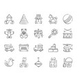 baby toy charcoal draw line icons set vector image vector image