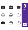 black briefcase icons set vector image vector image