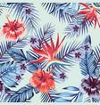 blue hibiscus plumeria leaves seamless light vector image vector image