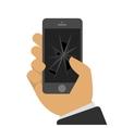 Broken phone in a hand vector image vector image