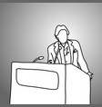 businessman gesturing while standing at podium vector image