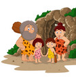 cartoon caveman family with cave background vector image vector image