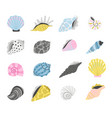 cartoon marine seashells vector image vector image