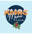 christmas menu design in cartoon style with text vector image
