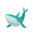 cute friendly shark cartoon character vector image vector image