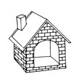dog house drawing line cartoon vector image vector image