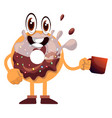 donut with cup coffee on white background vector image vector image