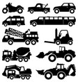 excavator truck van limousine lorry car forklift vector image vector image