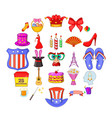 festive place icons set cartoon style vector image vector image