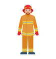 fire fighter man icon flat style vector image vector image