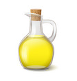 glass bottle with bright yellow oil and wooden vector image