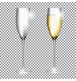 Glass of Champagne Full and Empty on Transparent vector image vector image