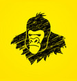 gorilla head king kong face angry big monkey vector image