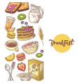 healthy breakfast hand drawn design with bakery vector image vector image
