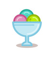 ice cream balls in the glass bowl line vector image