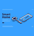 landing page smart home key mobile phone icon vector image vector image