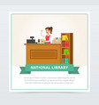 librarian woman at service desk banner education vector image