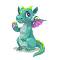 little cute cartoon young dragon fantasy monster vector image vector image