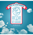 Love you poster in retro style on a summer sky vector image vector image