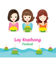 loy krathong festival with girls culture thailand vector image