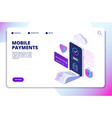 mobile payments isometric concept online secure vector image vector image