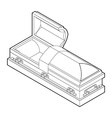 Open coffin in linear style Wooden casket for vector image