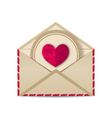 paper grunge heart in open old envelope vector image