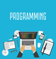 programmer workplace banner top view vector image